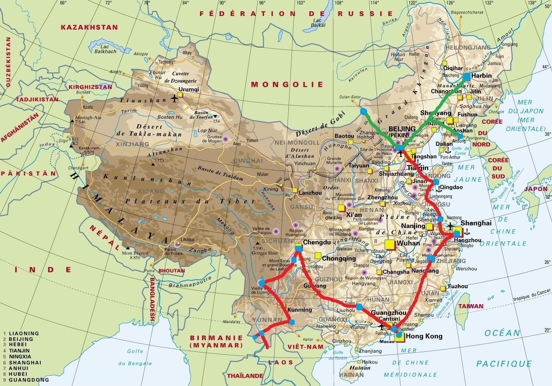carte voyage chine